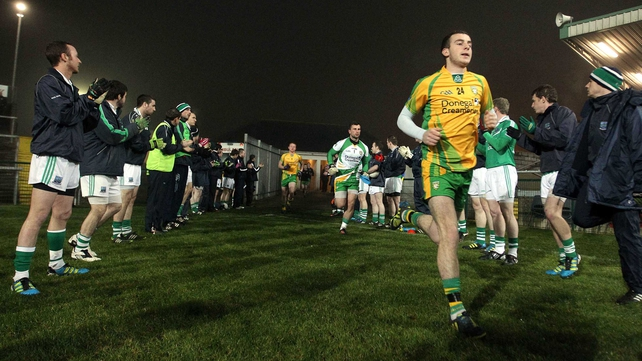 The All-Ireland winning Donegal team were given a Guard of Honour by the home side at Brewster Park