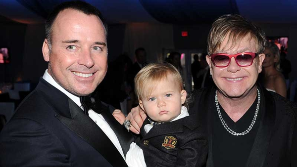 Elton John, with husband David Furnish and their eldest son, Zachary