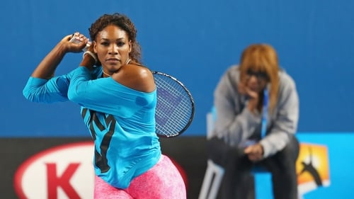 Serena Williams gets some practice in - with her mother watching on in Melbourne