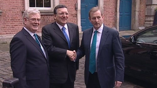 European Commission President José Manuel Barroso meets Eamon Gilmore and Enda Kenny Dublin Castle today