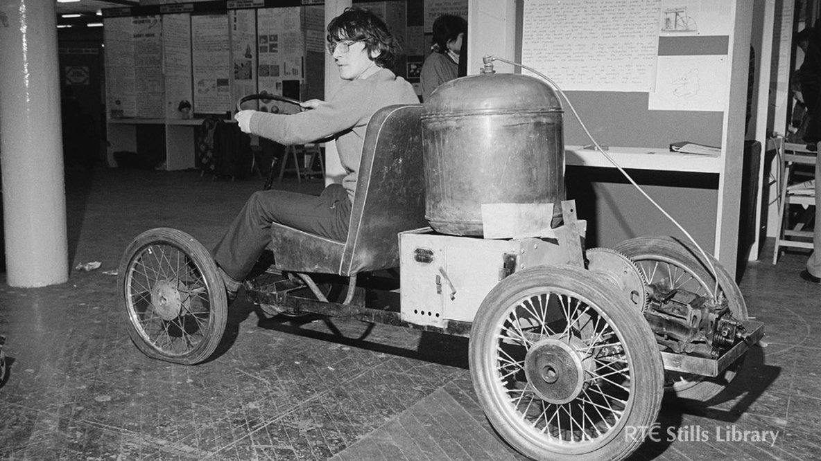 Seán Kerins demonstrates his steam car at the Young Scientist Exhibition, 1982.