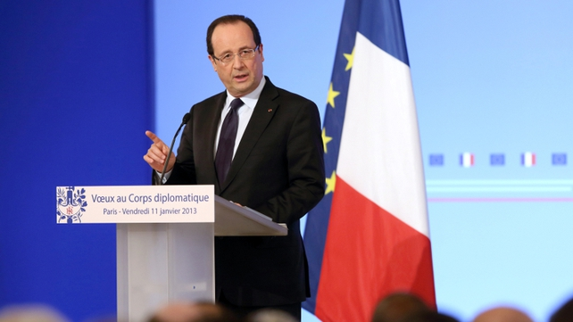 President Francois Hollande made it clear that France would intervene to stop any further drive southward by Islamist rebels