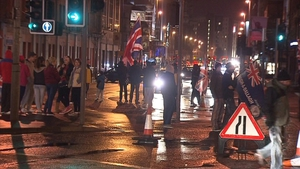 Protesters have taken to the streets of Belfast again tonight