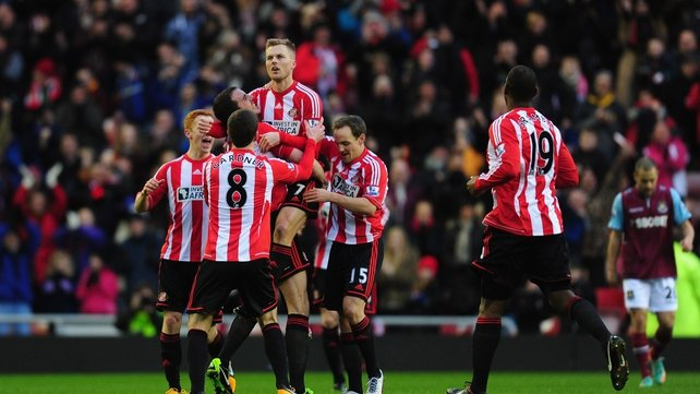 Sunderland players celebrate Seb Larsson's opener for Martin O'Neill's side