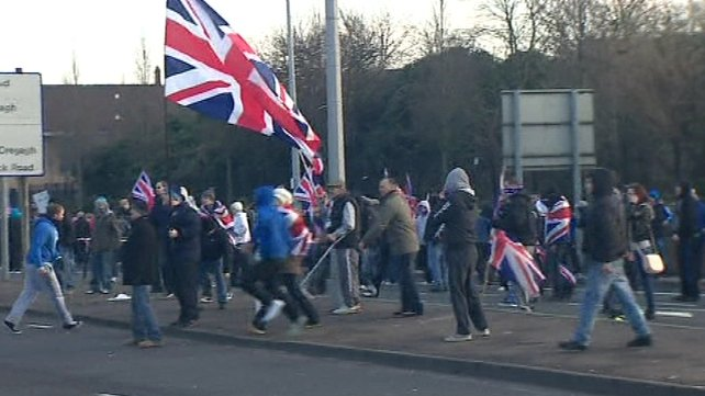 Loyalists returning from a demonstration in the city centre clashed with Nationalists in the Short Strand area