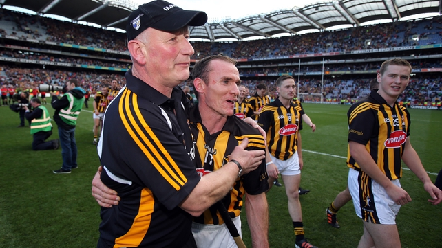 Hickey pictured with Brian Cody after the All-Ireland triumph against Galway last September