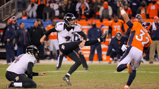 Justin Tucker kicks the winning field goal in second overtime as the Baltimore Ravens beat the Denver Broncos in Colorado