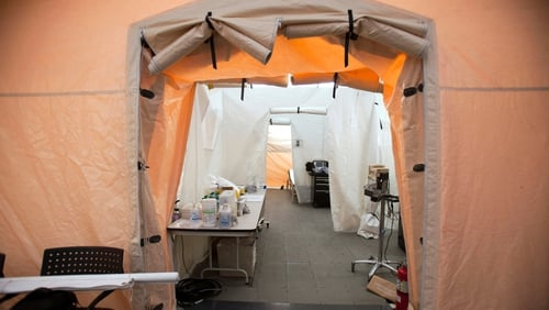 The Lehigh Valley Hospital outside Allentown has set up a tent for people who arrive with less-severe flu