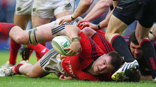 David Kilcoyne places the ball back on a Munster attack
