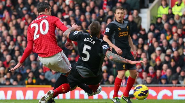 Robin Van Persie smashes home the opening goal at Old Trafford