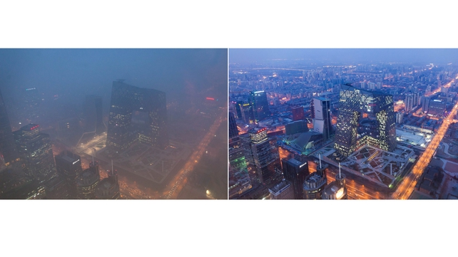 This combination of photos shows (L) the Beijing skyline during severe pollution today, and the same view (R) taken during clear weather on 4 February, 2012