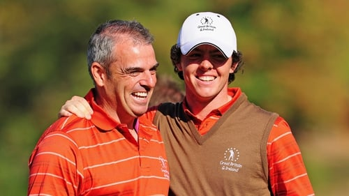 Paul McGinley with Rory McIlroy during the 2009 trophy