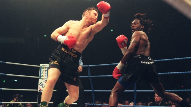 Steve Collins, seen here in 1996 against Nigel Benn, always wanted a crack at Roy Jones Jr