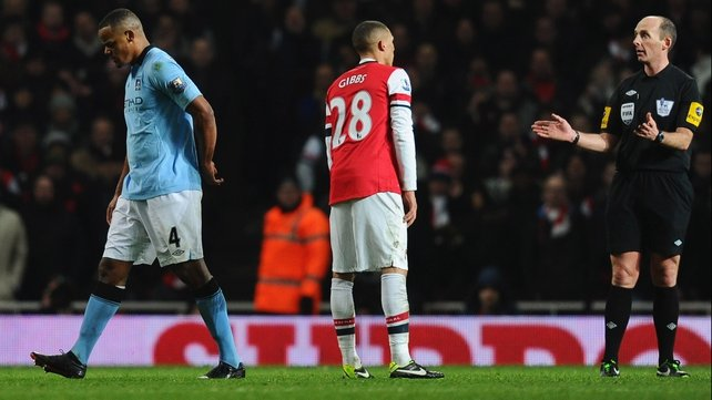 Vincent Kompany was wrongly sent off by Mike Dean