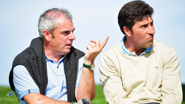 Paul McGinley (right) takes over the reigns as European captain from Jose Maria Olazaba (left)