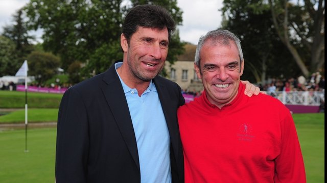 Jose Maria Olazabal and Paul McGinley during the Seve Trophy