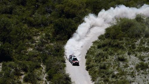 BMW's Orlando Terranova competes during the tenth stage of the Dakar Rally