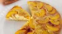 Upside down peach and saffron cake - A unique cake, full of exciting flavour that is sure to impress company