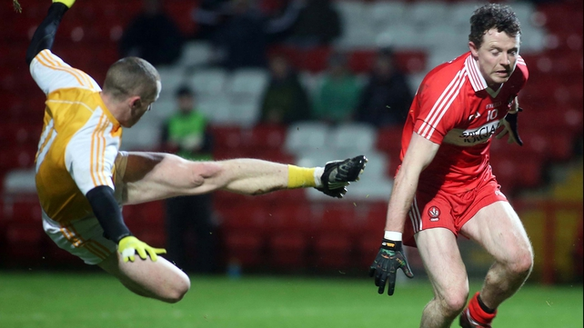 Antrim and Derry played out a thrilling 1-13 to 1-13 draw