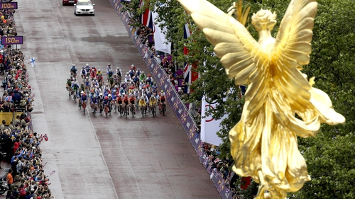 Cyclists on view going down The Mall during London 2012