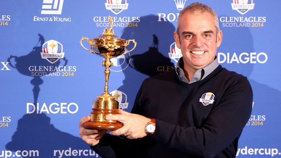 Paul McGinley poses with the Ryder Cup after it was announced that he would be the first Irish golfer to captain Europe in the biennial event