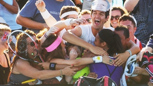 Group hug! Heather Watson is congratulated on her second round win at the Australian Open