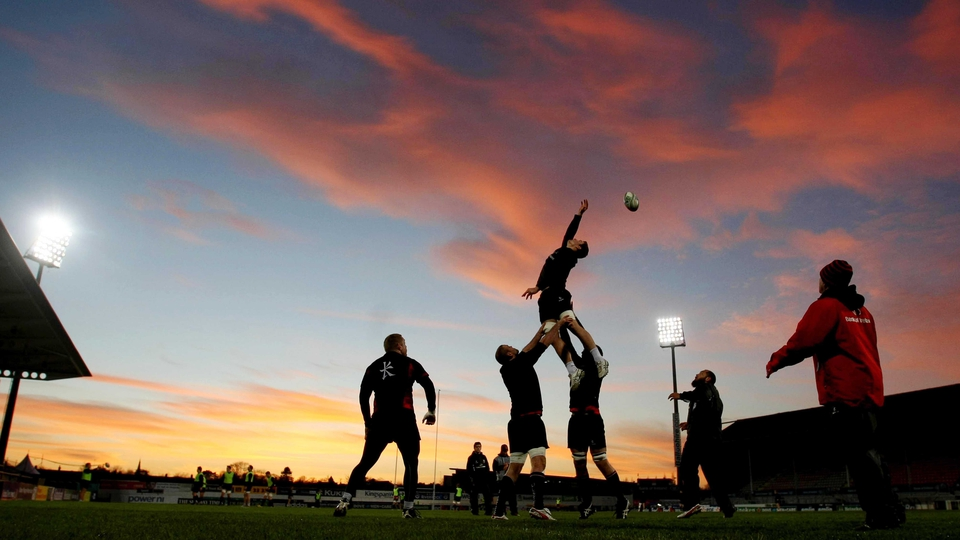 Ulster go through line-out drills at Ravenhill