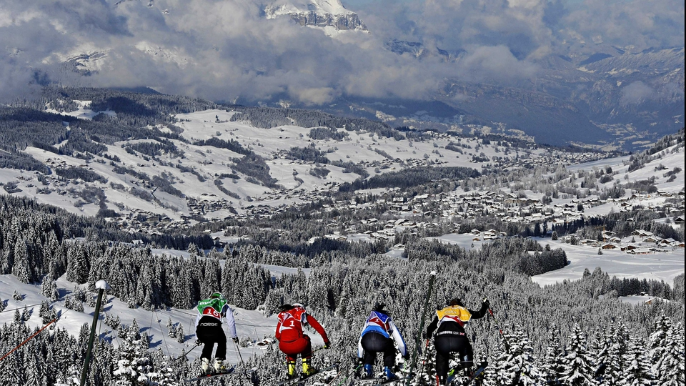 Competitors start the FIS Freestyle Ski World Cup in Megeve, France