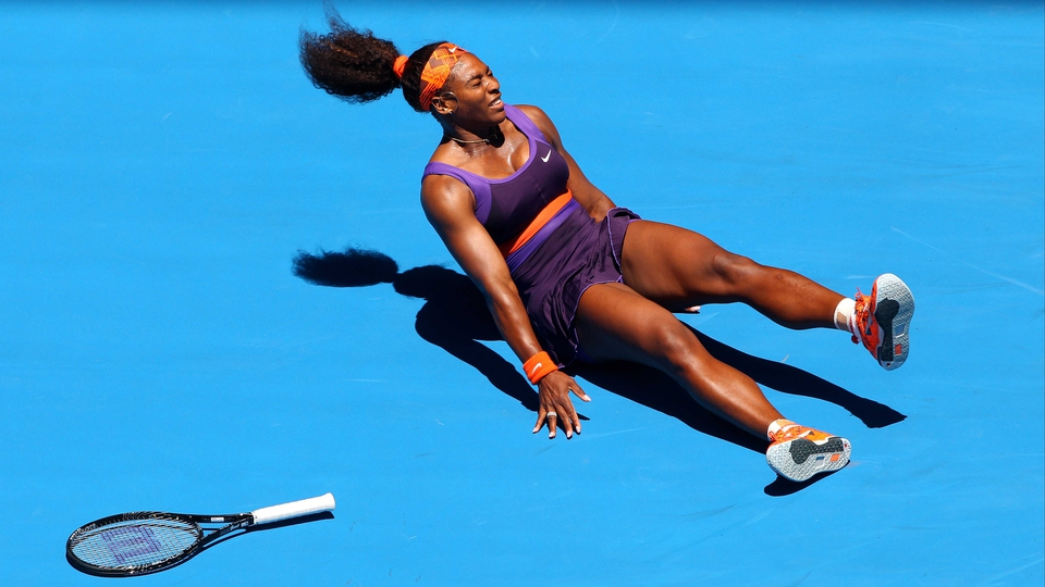 Serena Williams hits the deck during her Australian Open first round win over Edina Gallovits-Hall