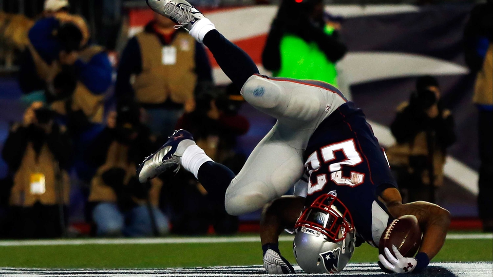 Stevan Ridley of the New England Patriots scores a touchdown against the Houston Texans in Foxboro, Massachusetts