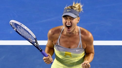 Maria Sharapova shows her delight after beating Venus Williams