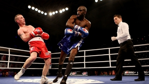 Olympic silver medallist John Joe Nevin in action against Daouda Sow during their bout in the World Series boxing match at York Hall in London
