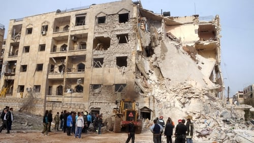 The scene of an explosion in Aleppo today. Yves Debay had been reporting from the city