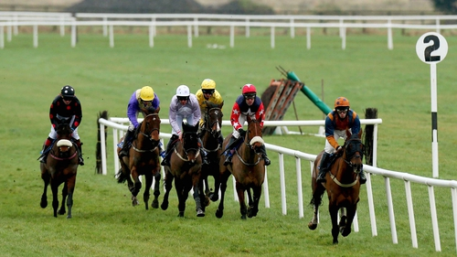 Solwhit (third horse from left) won the Ladbrokes World Hurdle at the Cheltenham Festival in March