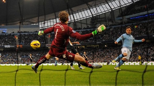 Manchester City's Spanish midfielder David Silva scored after two minutes