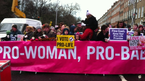 Crowds demonstrated in Dublin to highlight their opposition to abortion law changes