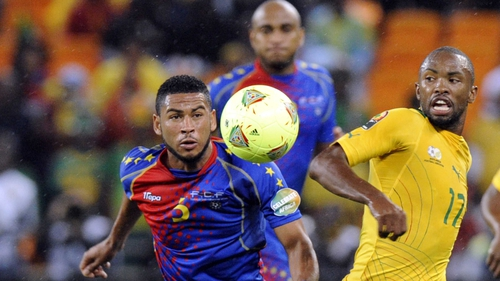 Cape Verde's Babanco and South Africa's Bernard Parker vie for possession at Soccer City