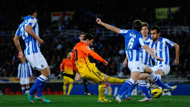 Barcelona star Lionel Messi scored for a Primera Division record 10th game in a row in the loss to Real Sociedad
