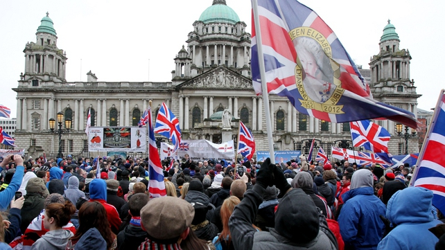 Loyalists rallied outside City Hall in ongoing protests over restrictions to the flying of the Union flag