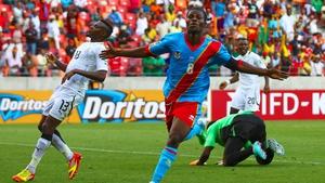 Tresor Mputu celebrates his strike for Congo