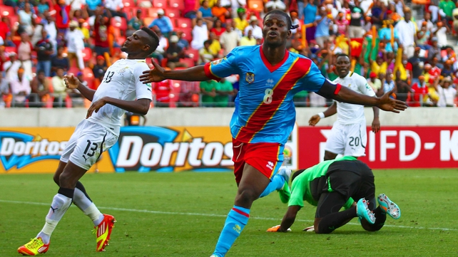 Tresor Mputu celebrates his strike for Congo