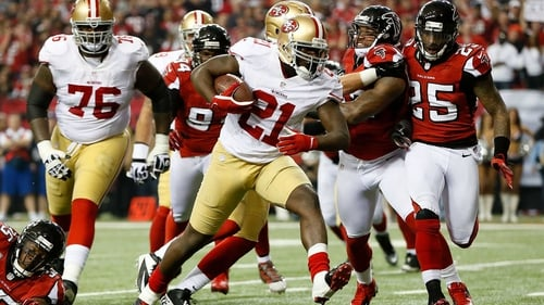 Frank Gore scores a five-yard rushing touchdown for San Francisco