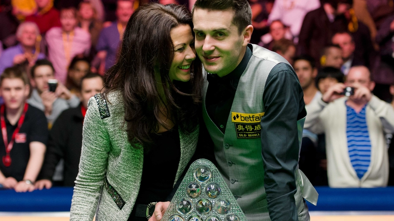 Mark Selby and his wife Vikki with The Masters trophy