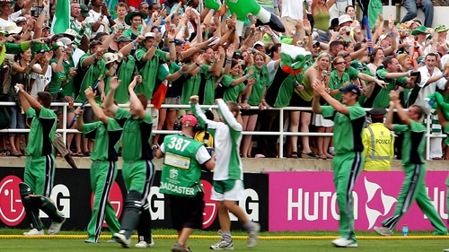 Ireland celebrate on St Patrick's Day after beating Pakistan in the 2007 World Cup at Sabina Park in Kingston