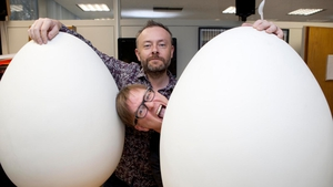 Rick O'Shea and Cormac Battle with last year's eggcellent Jack & Jill Foundation challenge.