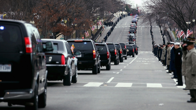 The motorcade travels from the White House to the US Capitol along Constitution Avenue