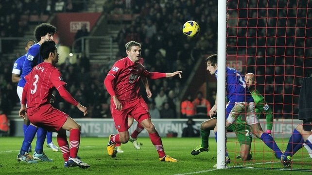 Everton's Leighton Baines heads the ball off the line at St Mary's
