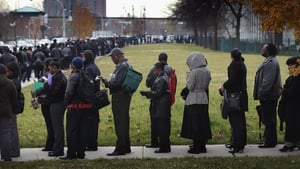 Jobseekers in the US queue to attend a jobs fair in Chicago