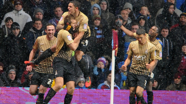 Bradford players in celebratory mood after eliminating their Premier League opponents
