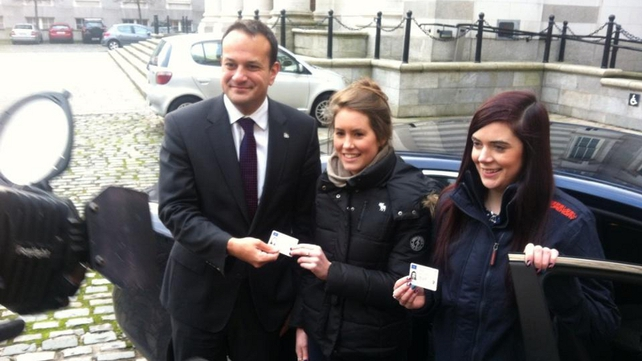 Minister for Transport Leo Varadkar with samples of the new driving licences